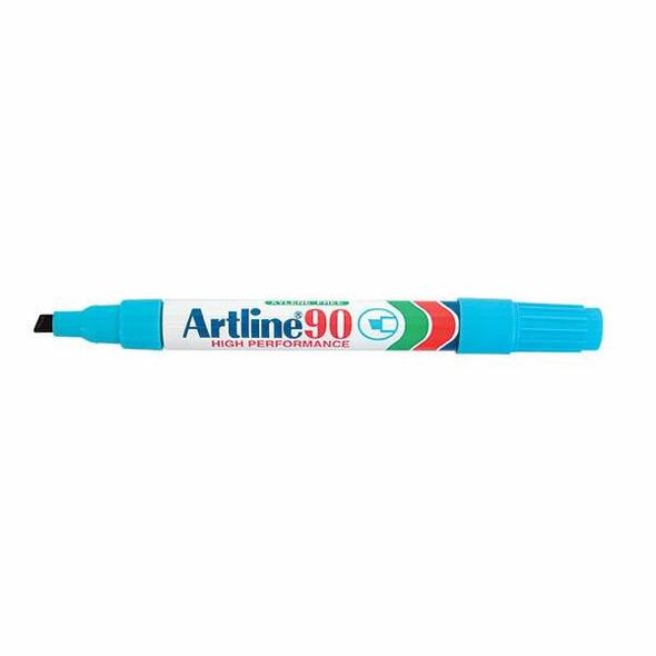 Artline 90 Permanent Marker 5mm Chisel Nib Light Blue BOX12 109013