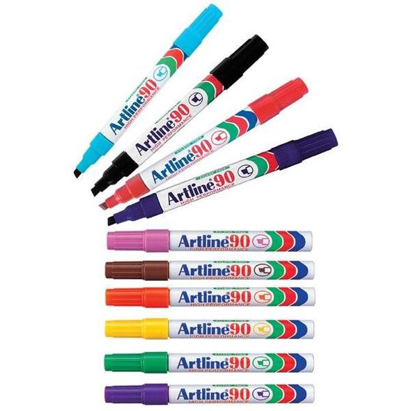 Artline 90 Permanent Marker 5mm Chisel Nib Assorted BOX12 109041
