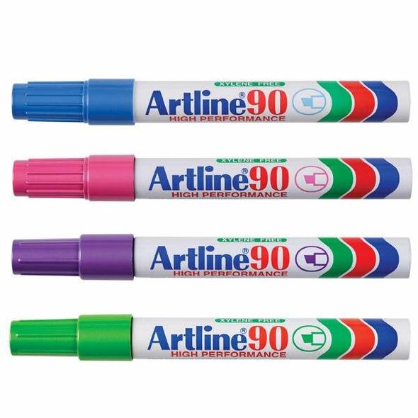 Artline 90 Permanent Marker 5mm Chisel Nib Brights BOX12 109044