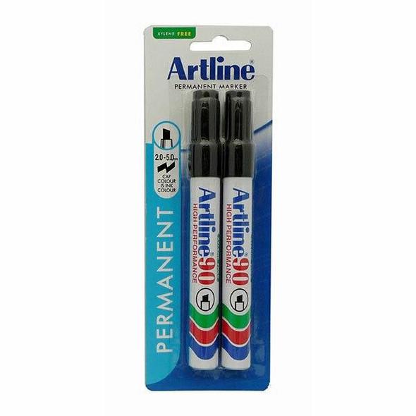 Artline 90 Permanent Marker 5mm Chisel Nib Black 2Pack X CARTON of 6 109067