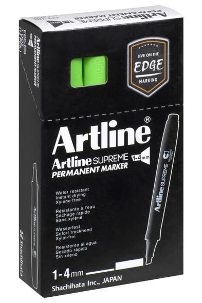 Artline Supreme Permanent Marker Chisel Green BOX12 109104