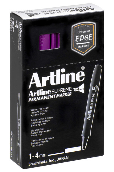 Artline Supreme Permanent Marker Chisel Purple BOX12 109106