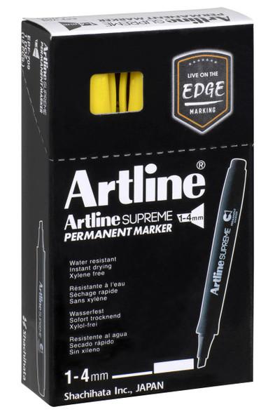 Artline Supreme Permanent Marker Chisel Yellow BOX12 109107