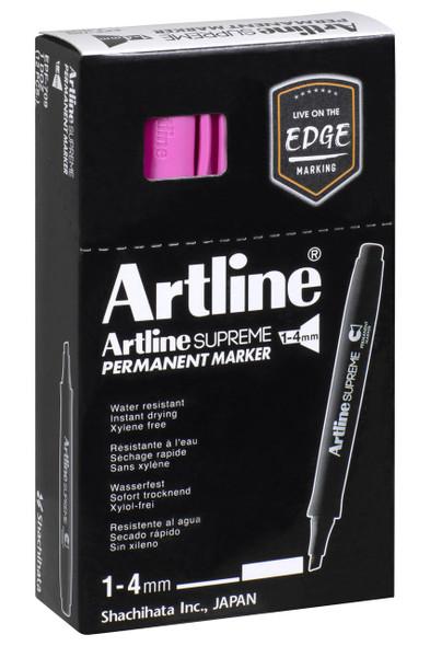 Artline Supreme Permanent Marker Chisel Pink BOX12 109109