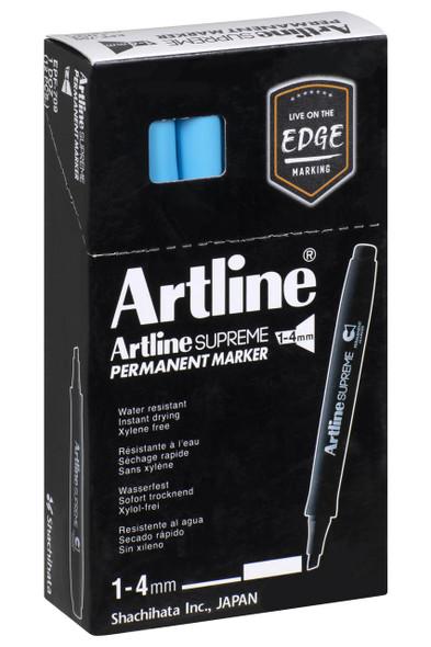 Artline Supreme Permanent Marker Chisel Light Blue BOX12 109113