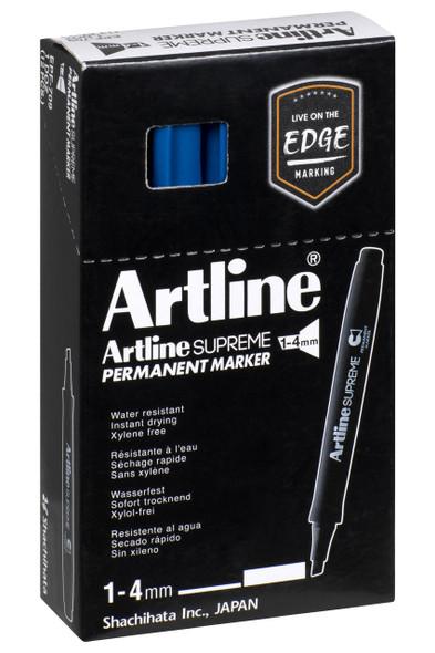 Artline Supreme Permanent Marker Chisel Royal Blue BOX12 109123