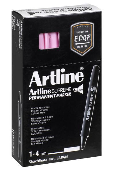Artline Supreme Permanent Marker Chisel Pastel Pink BOX12 109136