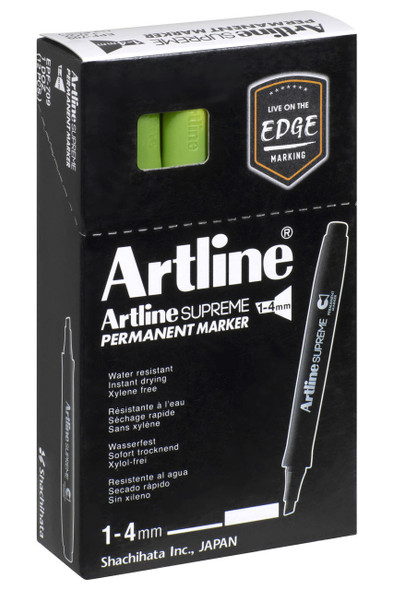 Artline Supreme Permanent Marker Chisel Yellow Green BOX12 109147