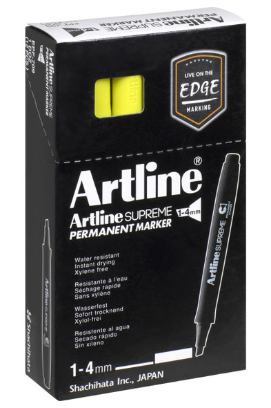 Artline Supreme Permanent Marker Chisel Bluish Yellow BOX12 109157