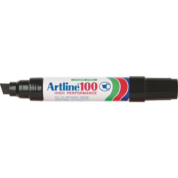 Artline 100 Permanent Marker 12mm Chisel Nib Black BOX6 110001