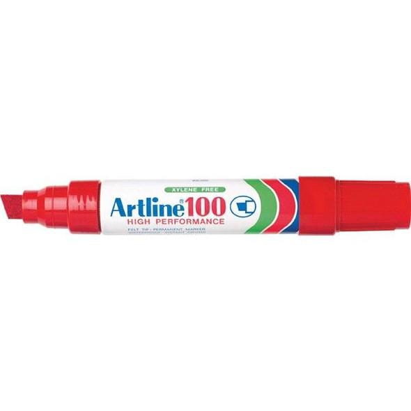 Artline 100 Permanent Marker 12mm Chisel Nib Red BOX6 110002