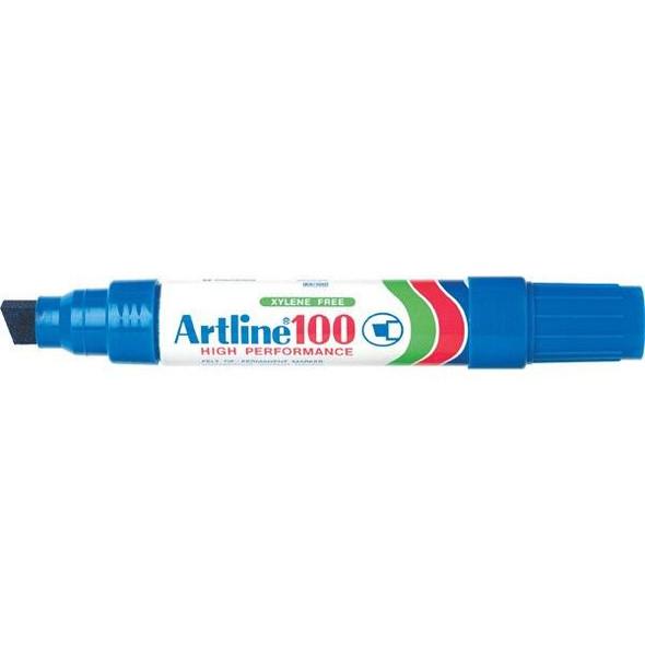 Artline 100 Permanent Marker 12mm Chisel Nib Blue BOX6 110003