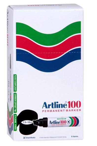 Artline 100 Permanent Marker 12mm Chisel Nib Green BOX6 110004
