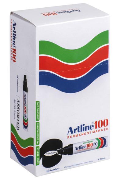 Artline 100 Permanent Marker 12mm Chisel Nib Assorted BOX6 110041