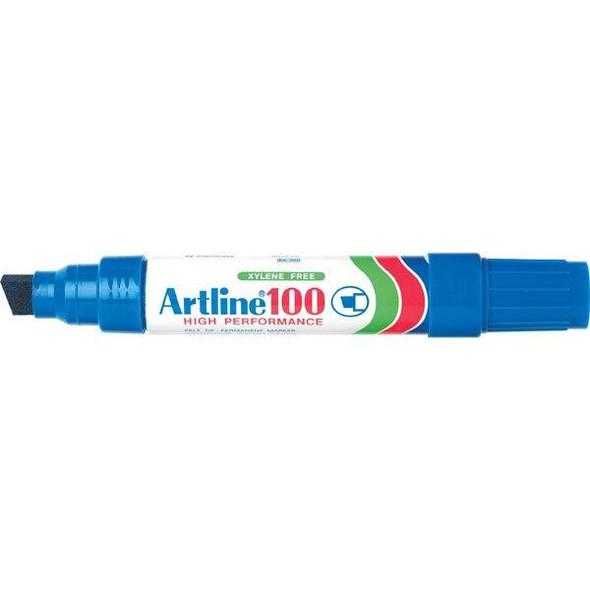 Artline 100 Permanent Marker 12mm Chisel Nib Blue Hangsell X CARTON of 6 110063