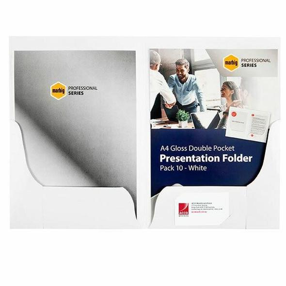 Marbig Professional Presentation Folders A4A'A gloss Double Pocket White P 1104108