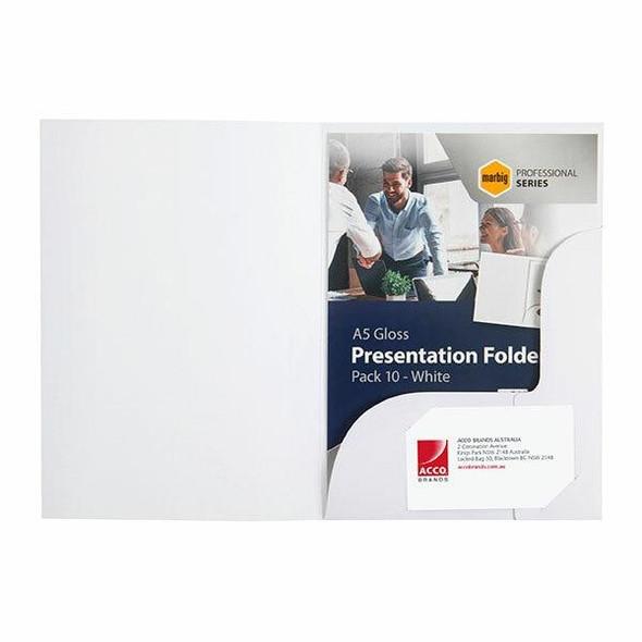 Marbig Professional Presentation Folders A5A'A gloss WhiteA'A Pack10 X CARTON of 5 1106108