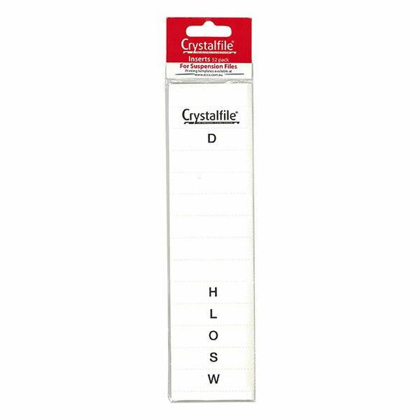 Crystalfile Inserts A-Z White Pack 52 X CARTON of 25 111540