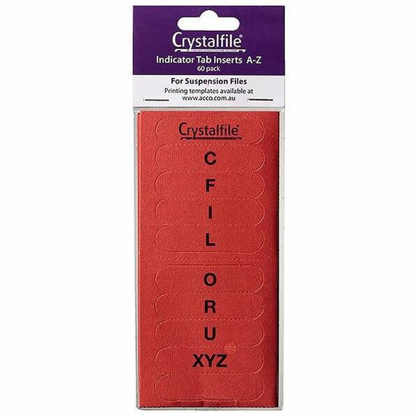 Crystalfile Inserts A-Z Red Pack 60 X CARTON of 25 111541C