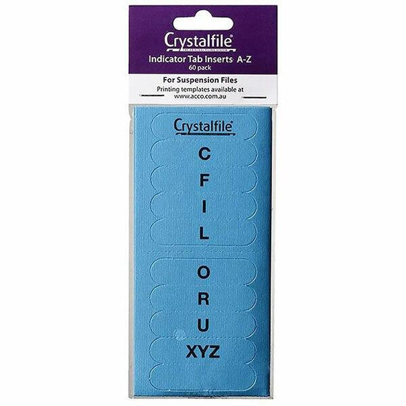 Crystalfile Inserts A-Z Blue Pack 60 X CARTON of 25 111542C