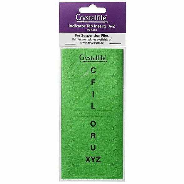Crystalfile Inserts A-Z Green Pack 60 X CARTON of 25 111543C
