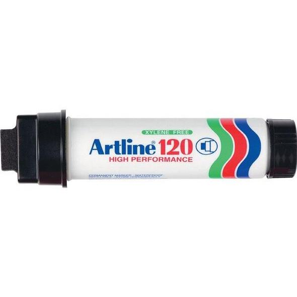 Artline 120 Permanent Marker 20mm Wedge Nib Black BOX6 112001