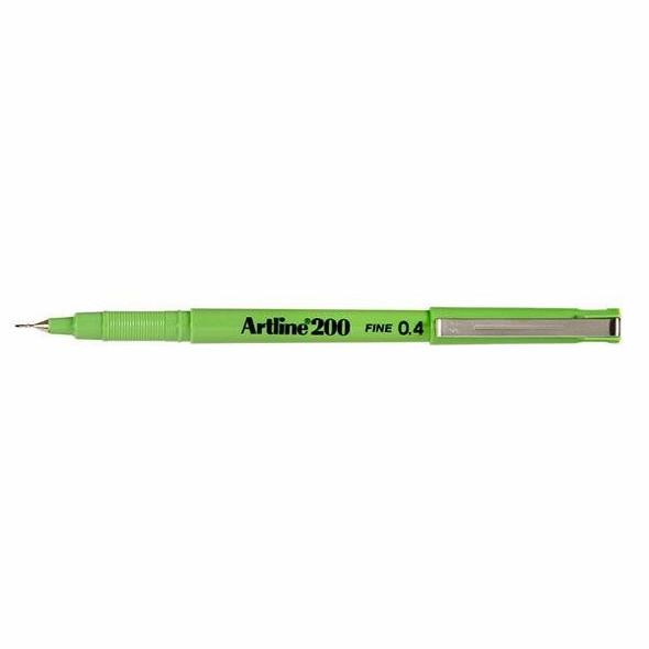 Artline 200 Fineliner Pen 0.4mm Lime Green BOX12 120014