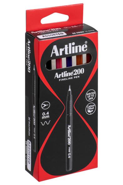 Artline 200 Fineliner Pen 0.4mm Assorted BOX12 120041