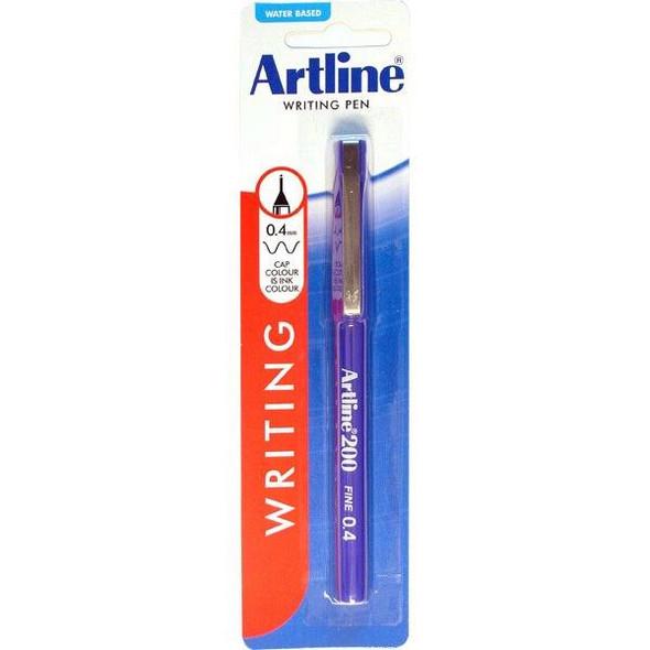 Artline 200 Fineliner Pen 0.4mm Blue Hangsell X CARTON of 12 120063