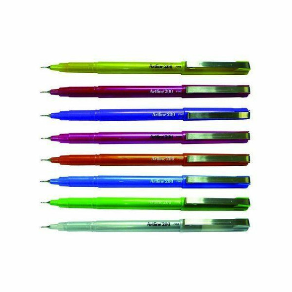 Artline 200 Bright Fineliner Pen 0.4mm Assorted BOX12 1200741