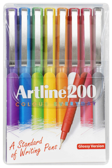 Artline 200 Bright Fineliner Pen 0.4mm Wallet8 1200748