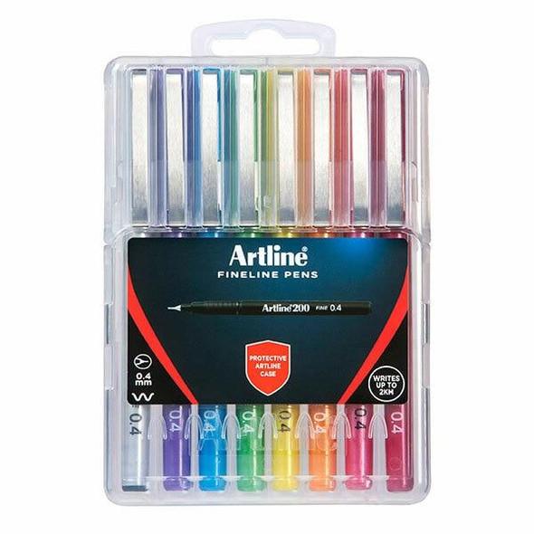 Artline 200 Fineliner Pen Assorted Wallet8 Hard Case X CARTON of 6 1200748HC