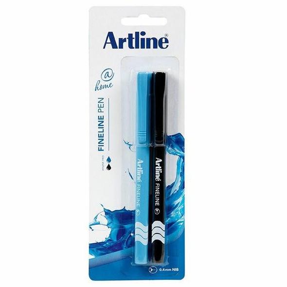 Artline At Home Fineliner Pen Assorted Pack2 X CARTON of 12 120078