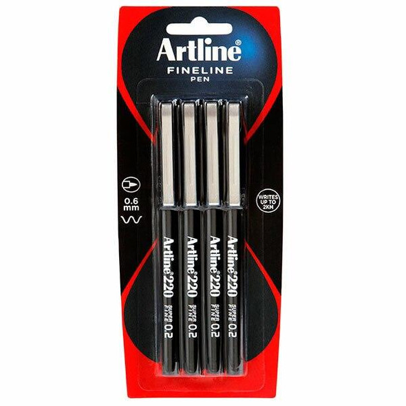 Artline 200 Fineliner Pen 0.4mm Black 4Pack Hangsell X CARTON of 12 120082