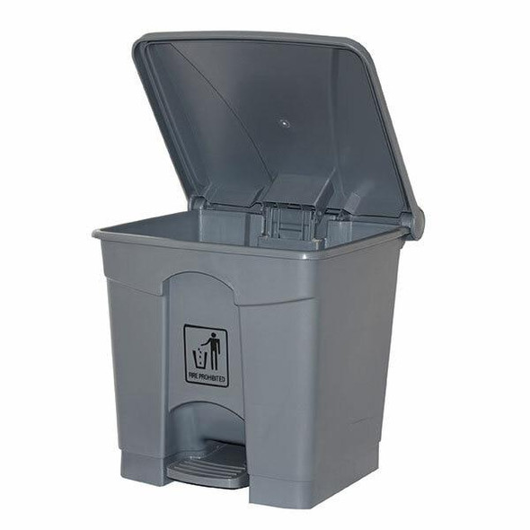 Cleanlink Rubbish Bin With Pedal Lid 30 Litre Grey 12057