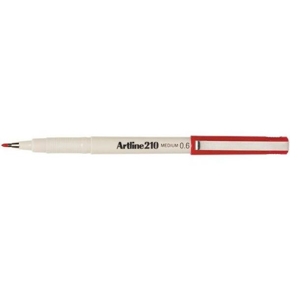 Artline 210 Fineliner Pen 0.6mm Red BOX12 121002