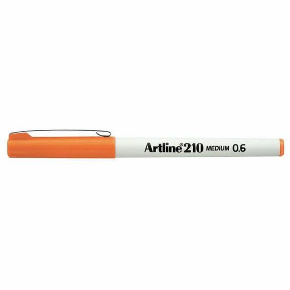 Artline 210 Fineliner Pen 0.6mm Orange BOX12 121005