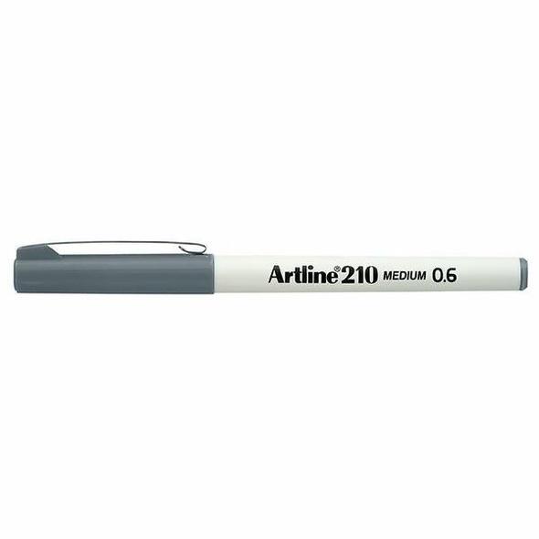 Artline 210 Fineliner Pen 0.6mm Grey BOX12 121011