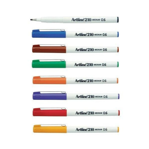 Artline 210 Fineliner Pen 0.6mm Assorted BOX12 121041