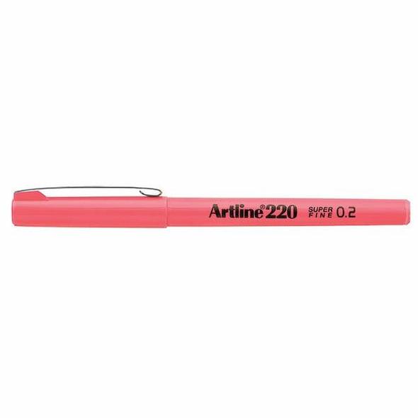 Artline 220 Fineliner Pen 0.2mm Pink BOX12 122009