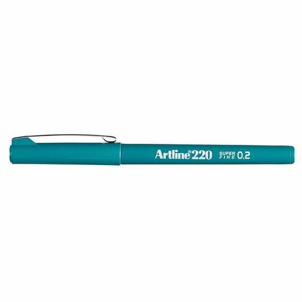 Artline 220 Fineliner Pen 0.2mm Dark Green BOX12 122024
