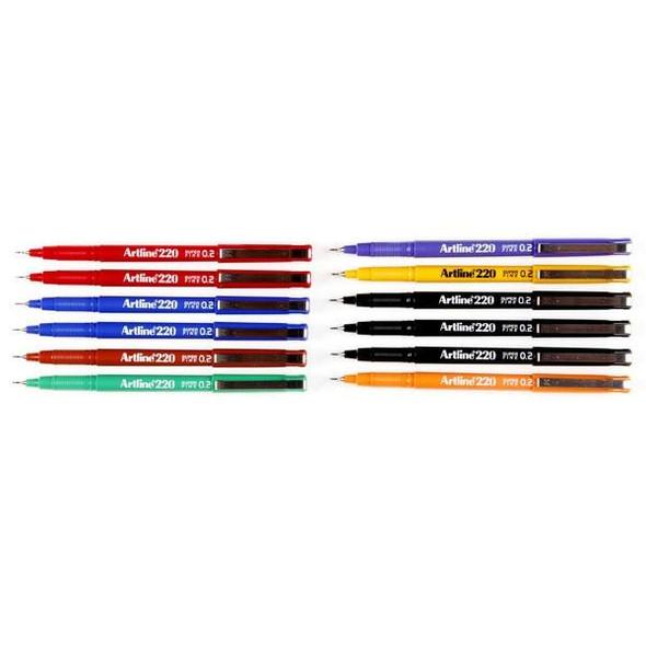 Artline 220 Fineliner Pen 0.2mm Assorted BOX12 122041