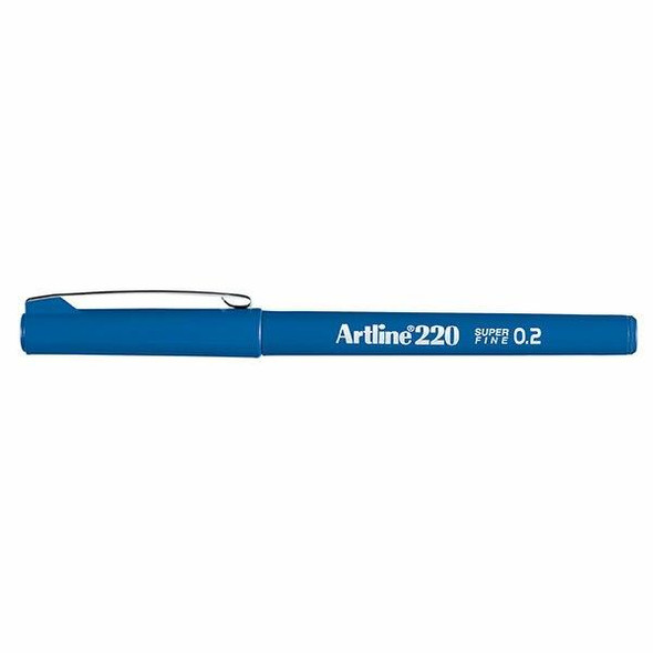 Artline 220 Fineliner Pen 0.2mm Royal Blue BOX12 122053