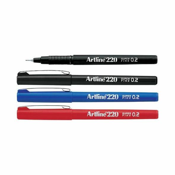 Artline 220 Fineliner Pen 0.2mm Assorted Pack4 122084