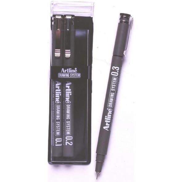Artline 230 Drawing System Pen 3 Nib Sizes Black Wallet3 1230431