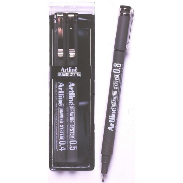 Artline 230 Drawing System Pen 3 Nib Sizes Black Wallet3 1230432