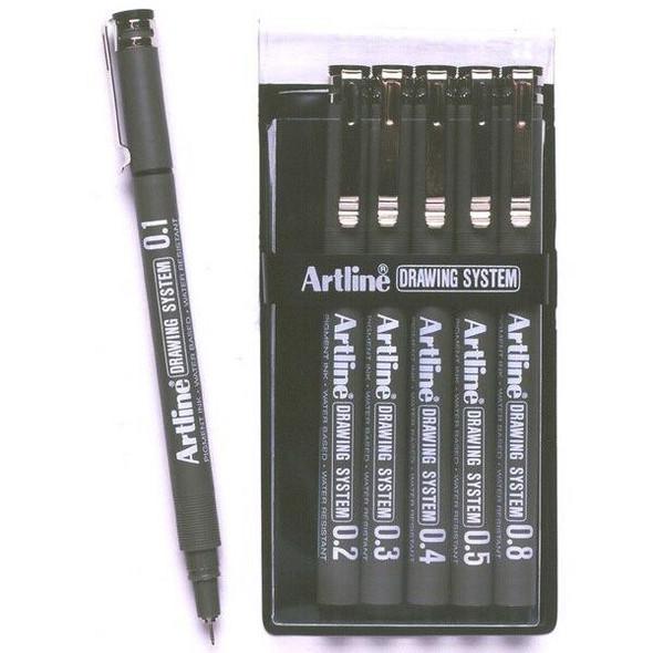 Artline 230 Drawing System Pen Black Wallet6 123046