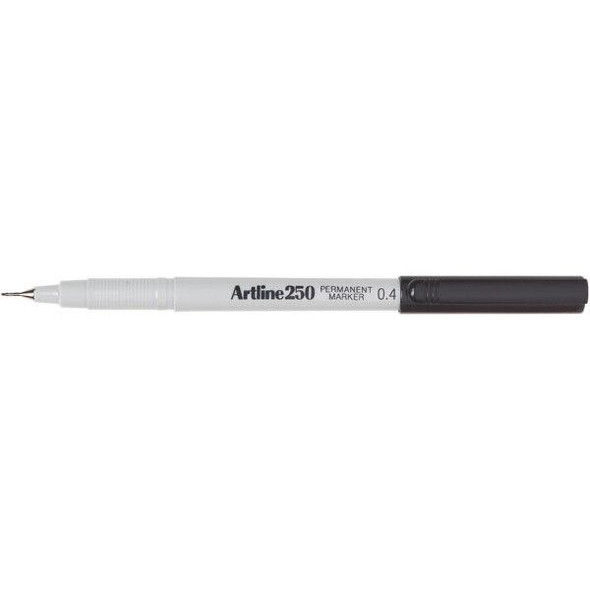 Artline 250 Permanent Marker 0.4mm Black BOX12 125001