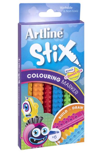 Artline Stix Colouring Marker 6Pack 130071