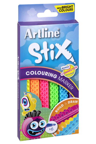 Artline Stix Colouring Marker Neon Pack6 130074